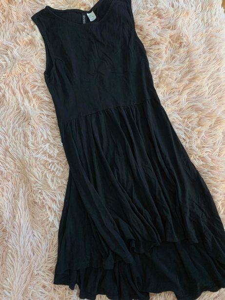 Sukienka czarna krótszy przód, dłuższy tył - H&M - JAK NOWA!