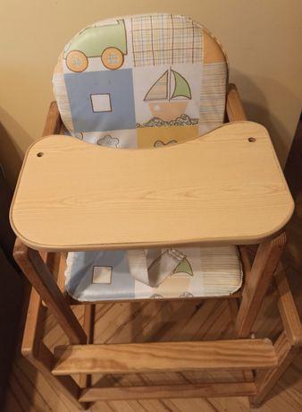 Krzesełko drewniane 2 w 1 do karmienia dziecka