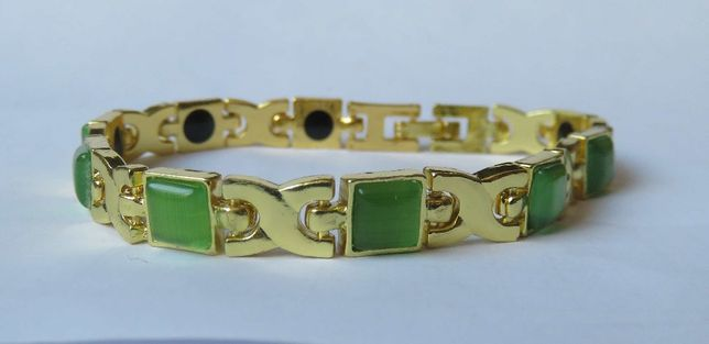 Bransoleta bransoletka magnetyczna zielone kamienie