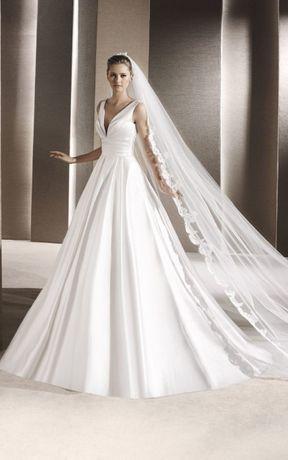 sukienka suknia ślubna La Sposa Ralea Pronovias satyna satynowa prosta
