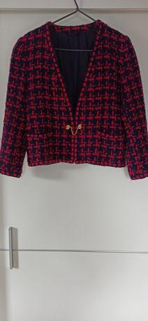 Żakiet  krótki rewelacja złota zapinka tweedowy