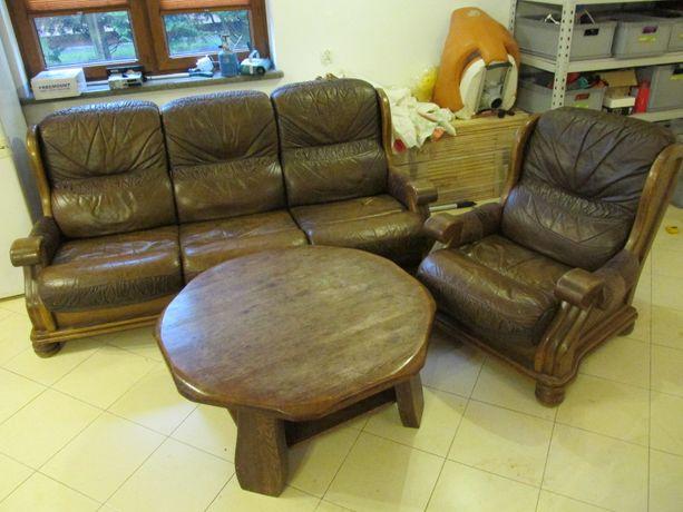 Sofa skórzana 2 fotele stół meble dębowe