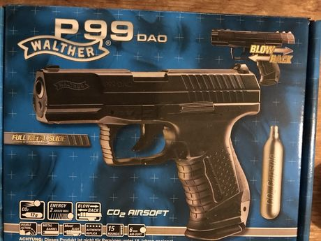 Pistola Airsoft (CO2) Walther P99, BLOWBACK, nova, garantia