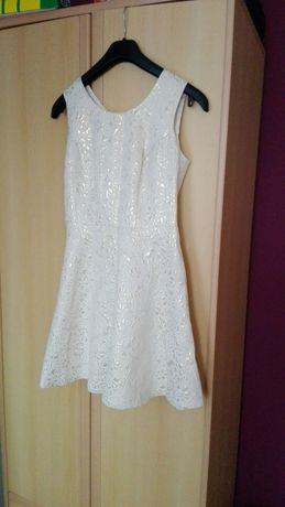 elegancka sukienka ecru wytlaczane kwiaty zlota nitka 38 M