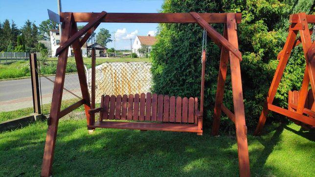 Huśtawka ogrodowa drewniana, stół, ławki drewniane