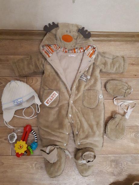 Плюшевый комбезик для новорожденного, шапочка в подарок!