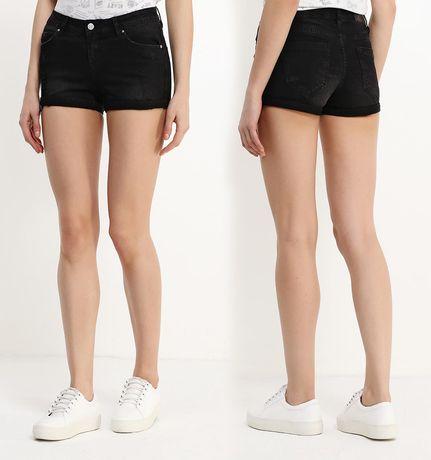 Новые джинсовые шорты Jennyfer XS 34 25 черные с потёртостями хс