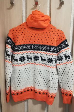 Свитер зимний с оленями,был одет 2 раза,в хорошем качеств