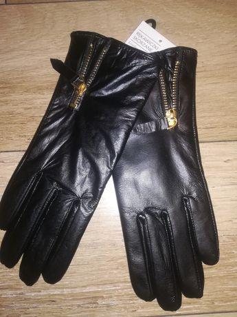 Rękawiczki skórzane r 7,5 damskie nowe z zamkami