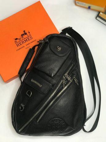 Однолямочный рюкзак кожаный ранец на одно плечо Chrome Hearts c637