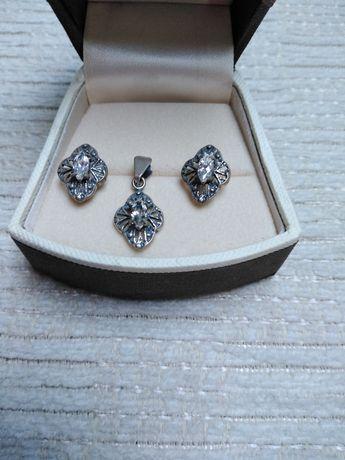 Śliczny komplet biżuterii srebrnej