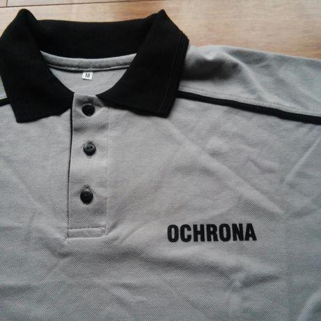 Polo, koszulka polo szara z nadrukiem OCHRONA