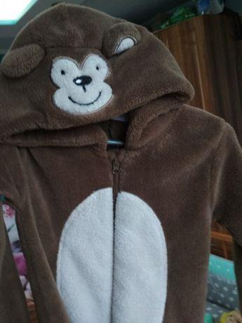 Cieply polarowy pajac pizama przebranie kostium małpka małpa 92cm