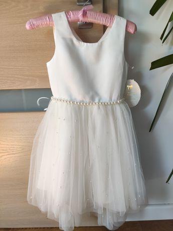 Śliczna sukienka ecru- komunia lub inne uroczystości