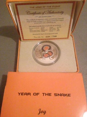 Монета серебро 999 с эмалью5 dollars острова кука год зм