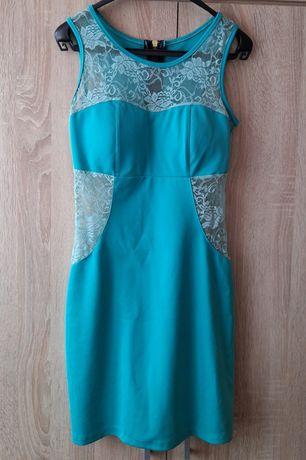 Sukienka zielona z koronką S 36