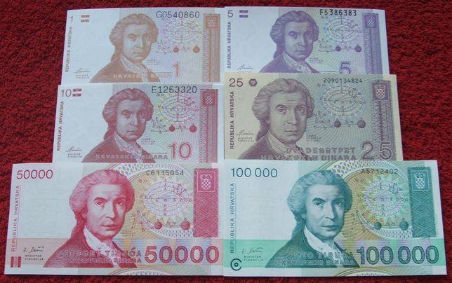 CHORWACJA Kolekcjonerskie Banknoty Zestaw - 6 sztuk UNC