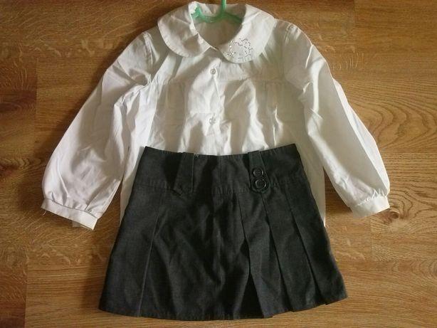 Komplet biała bluzka+spódniczka na 110/116cm