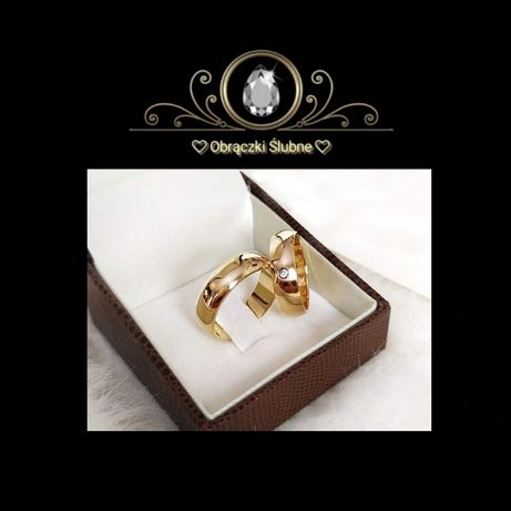Romantyczna Para Złotych Obrączek Ślubnych Lśniąca Cyrkonia