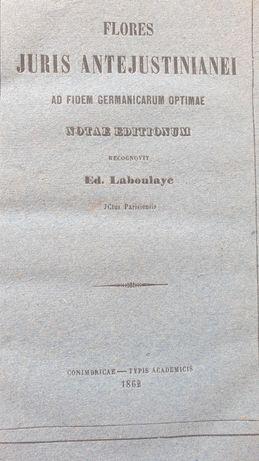 Livro Juridico em latim de 1862... Juris Antejustinianei