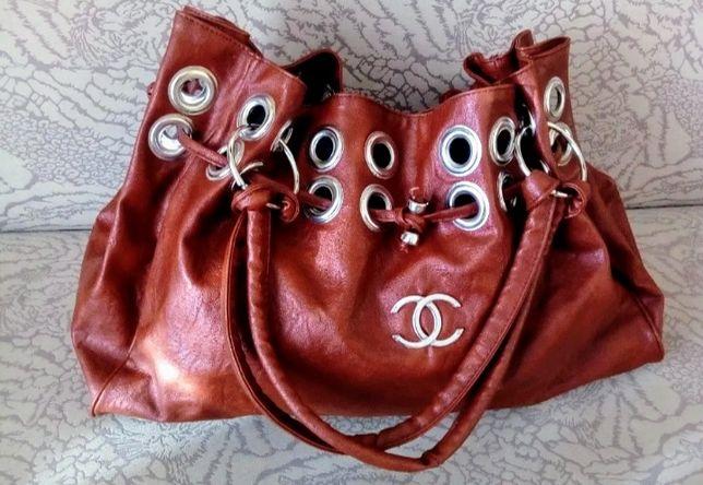 Torebka Chanel duża brąz rudy pojemna A4