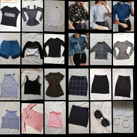 6zł/ sztuka Paka paczka ubrań zestaw damskich xs s spódnic topów bluz