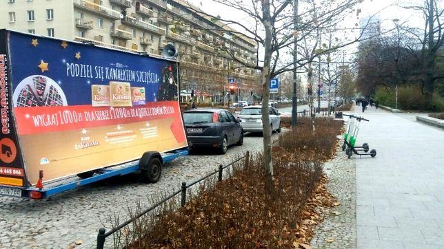 Reklama mobilna, przyczepa reklamowa, laweta, Poznań, Leszno, Środa Wl
