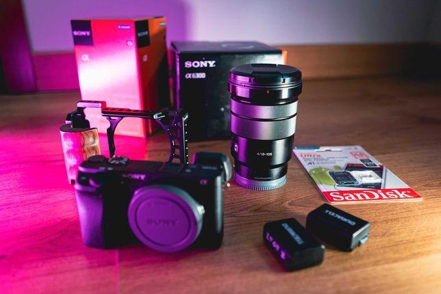Sony a6300 + Obiektyw Sony 18-105mm f/4 + Gimbal Pilotfly H2 + dodatki