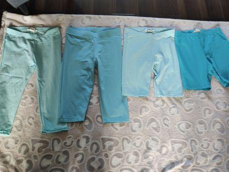 Zestaw leginsy spodenki krótkie lato bawełna 134/140 niebieskie H&M