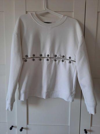 The Kooples, bawełniana, biała bluza marki premium, rozm. 36
