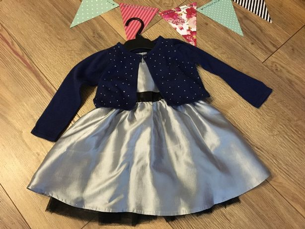 Srebrna elegancka sukienka +granatowe bolerko 80/86 cm 12/18 miesięcy