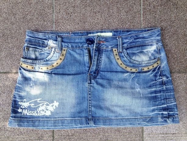 spódnica jeansowa vintage ćwieki skóra r.30 spódniczka krótka mini