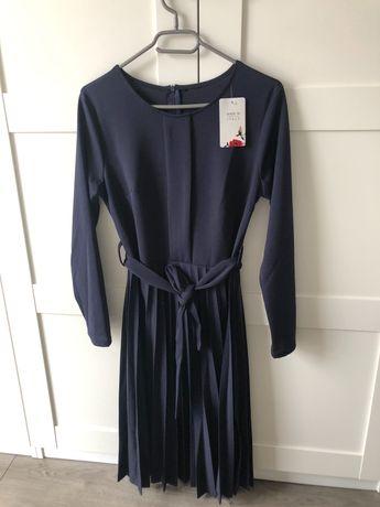 Sukienka Elegancka Granatowa uniwersalny rozmiar