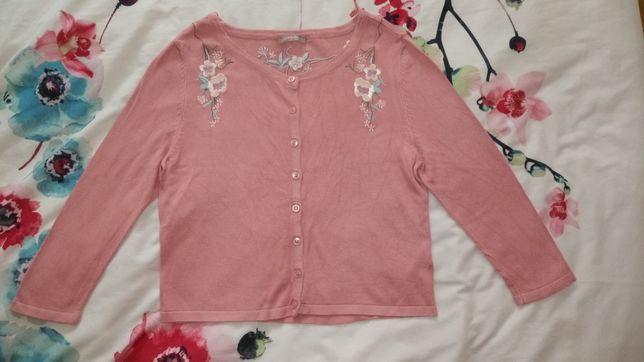 Orsay różowy sweterek bolerko crop top haftowany r. XS-M