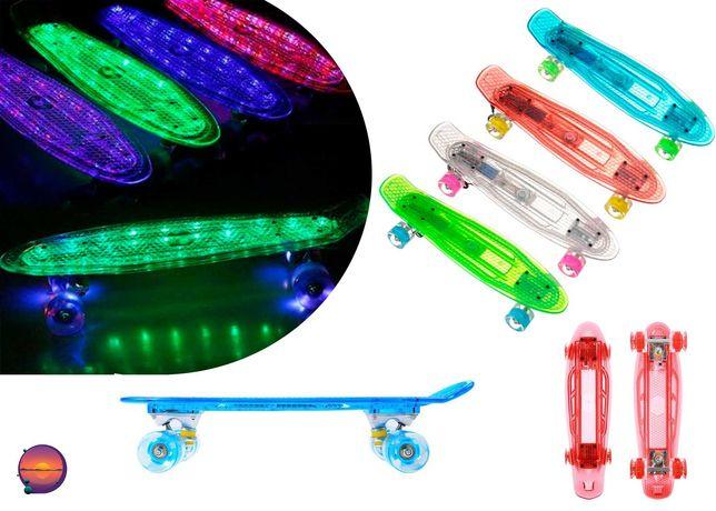 Скейт Пенни борд светящиеся колеса и дека,  прозрачный Penny Board
