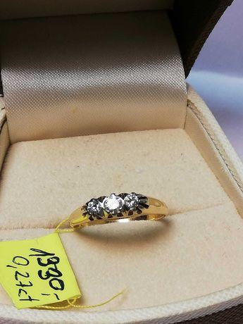 Złoty pierścionek z brylantami pr.750/0,27ct/2,6g Wyprzedaż