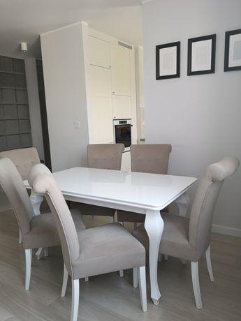 Zestaw Ludwik stół biały połysk + 6 krzeseł
