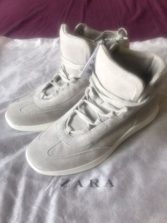 Nowe wysokie sportowe skórzane buty trzewiki ZARA 42