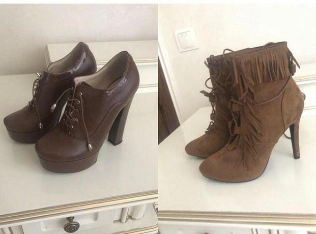 Женские коричневые ботинки замшевые, кожаные.