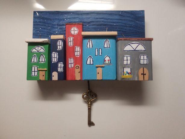 Wieszak domki drewniane ręcznie robione, ozdoba, dekoracja, hand made