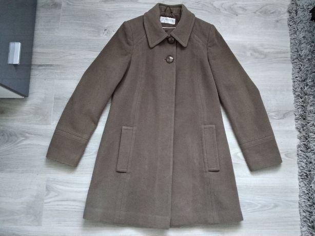 Ciemnobeżowy/ mokkka wełniany płaszcz Classics M/L