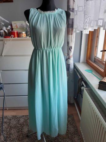 Sukienka długa miętowa rozporki śliczna wiazana wesele S