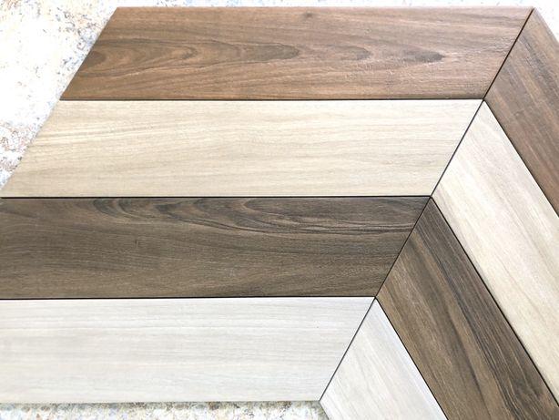 Płytki jodełka podłogowe drewno Sleek Wood Mohogany Chevron Nat 11x54