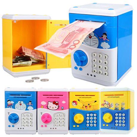 Детская копилка электронная Банкомат робот сейф купюроприемник монеты