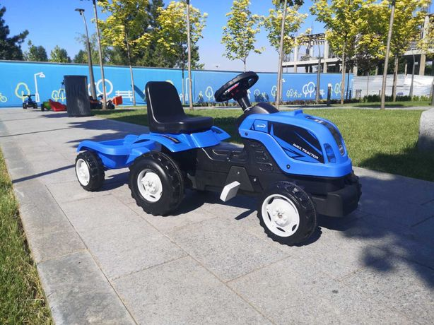 Трактор на педалях з причепом СИНІЙ