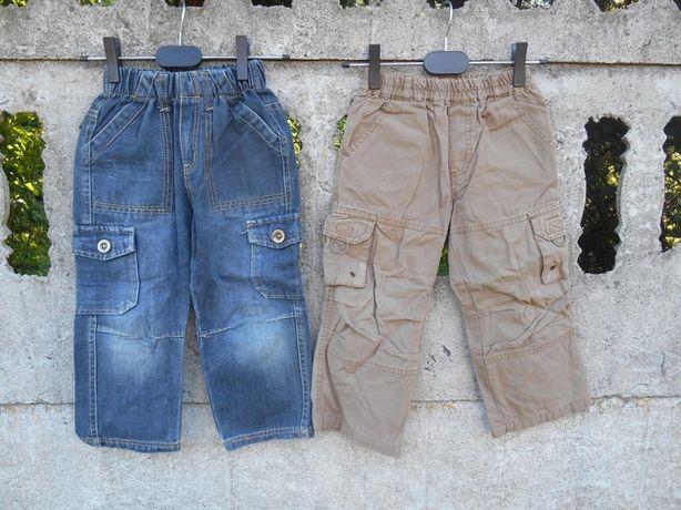 Spodnie 98 jeansowe i brązowe