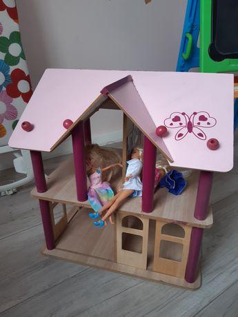 Duzy drewniany domek dom dla lalek barbie przesowne drzwi