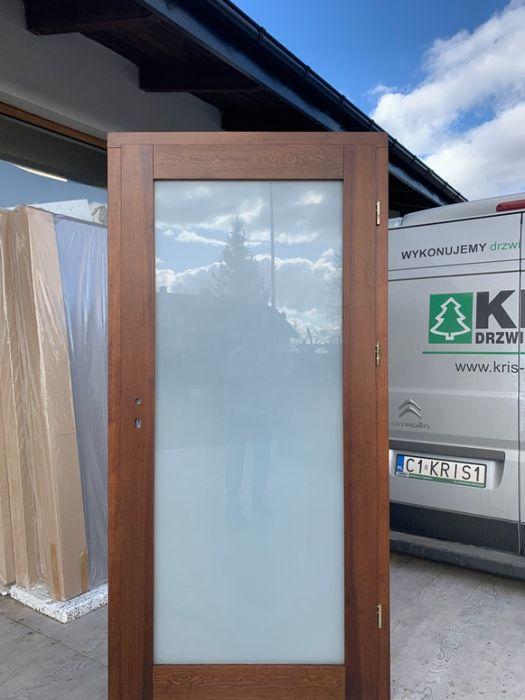 Drzwi lite drewniane sosnowe od ręki z ościeżnicą regulowaną