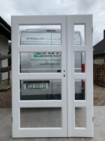 Drzwi wewnętrzne dwuskrzydłowe białe RAL9016