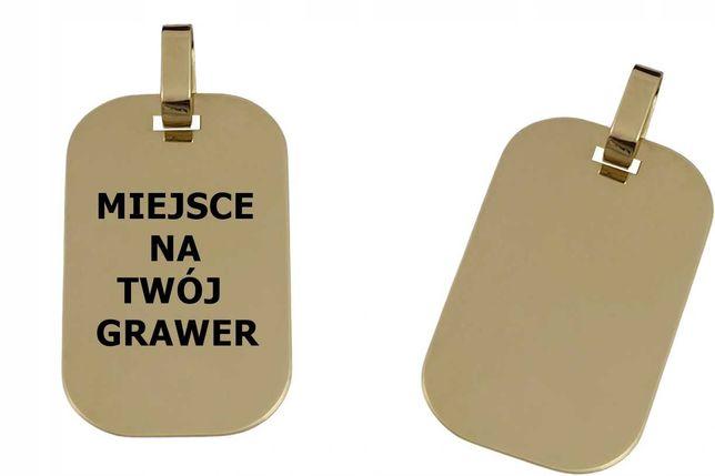 Wisiorek Złoty Nieśmiertelnik BLASZKA 585 + GRAWER